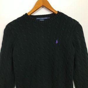 RALPH LAUREN SPORT Black Cotton XL Cable Sweater